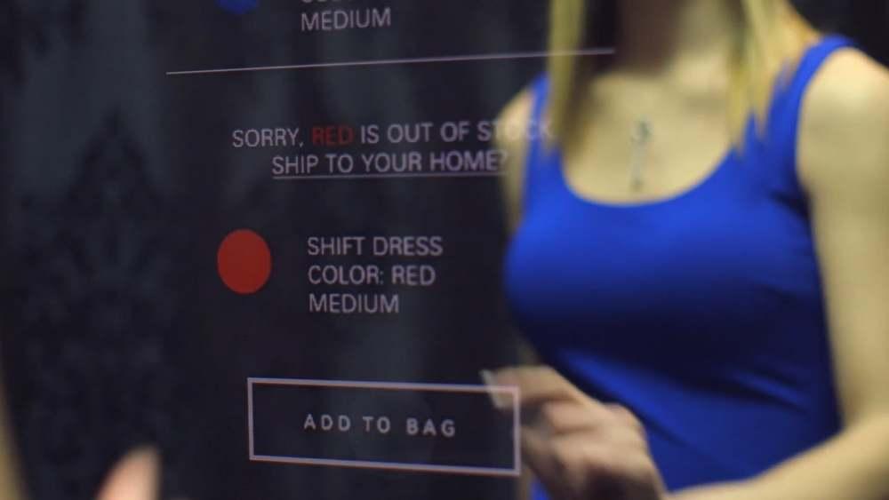 omnichannel retail smart mirror close up